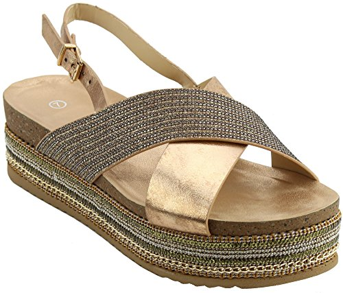 Cambridge Select Womens Open Toe Crisscross Strap Slingback Beaded Chain Mixed Media Flatform Sandal Rose Gold GRN1E971i
