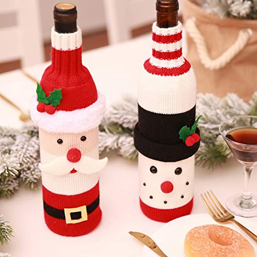 Wicemoon 1pcs Botella de Vino de Navidad decoración Botella de Santa Claus para decoración de Fiesta de Año: Amazon.es: Hogar
