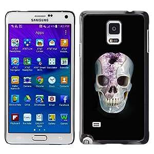LECELL--Funda protectora / Cubierta / Piel For Samsung Galaxy Note 4 SM-N910 -- Minerals Marie Skull Black Amethyst --