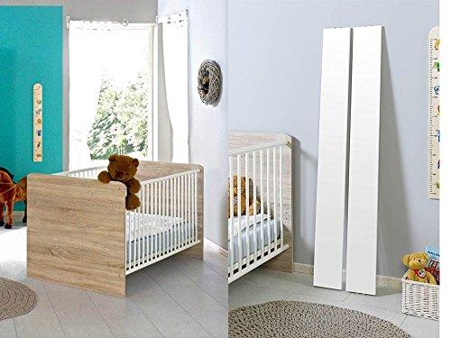 Babybett Kinderbett Juniorbett Komplettset ELISA in Eiche Sonoma   weiß mit höhenverstellbarem Lattenrost und Umbauseiten, komplett Set
