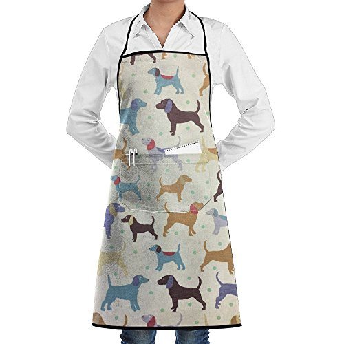 Small Green Dots Many Dogs Adjustable Bib Apron Waterdrop Resistant With 2 Pockets Cooking Kitchen Aprons For Women Men (Two Dogs Designs Chefs Barbecue)