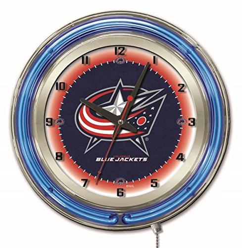 Columbus Blue Jackets HBS Neon Blue Hockey Battery Powered Wall Clock - Columbus Blue Clock Jackets