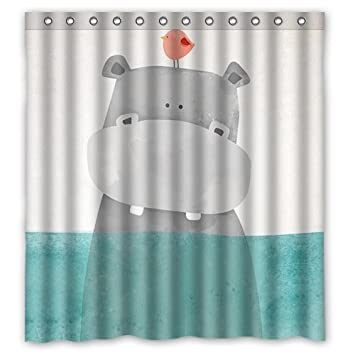 Custom Cute Cartoon Animal Hippo Bird In The Water Shower Curtain Bath Decorations Bathroom Decor Sets