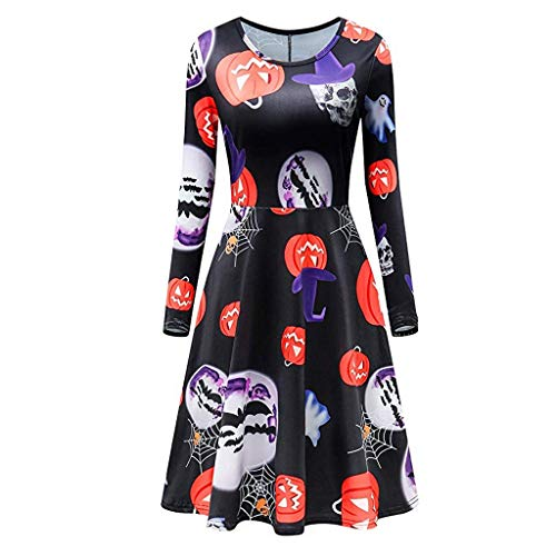 Halloween One-Piece Retro Dress, Women Fancy Pumpkin Ghost Skull Printing Women's 1950s Vintage O Neck Long Sleeve Retro A Line Cocktail Swing Party Dress Costumes, ()