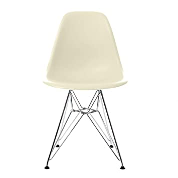Vitra Eames Plastic Side Chair DSR Eiffel Tower Polypropylene Chair Cream  Chrome Frame