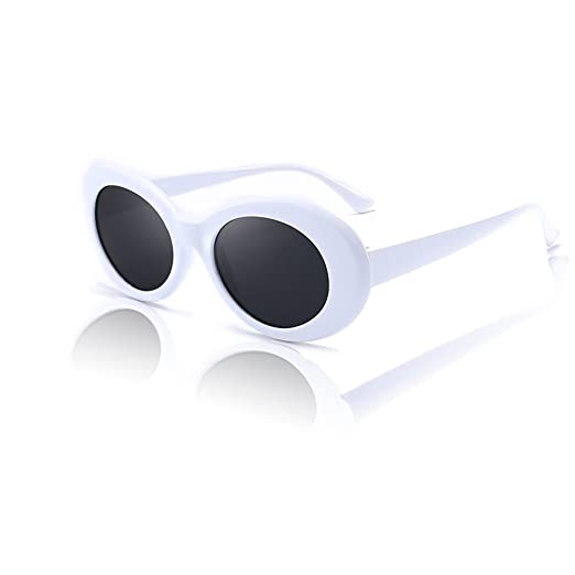 Amazon.com: White Clout Goggles. Thick Oval Frame. Mod Fashion Kurt ...