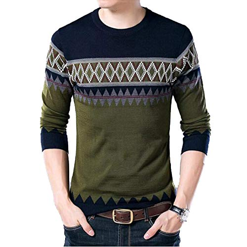 Sexjoy outerwear-jackets 2019 New Winter Men's Wool Sweater Mens Casual O-Neck Slim Fit Casual Cashmere Sweaters,Green,X-Large