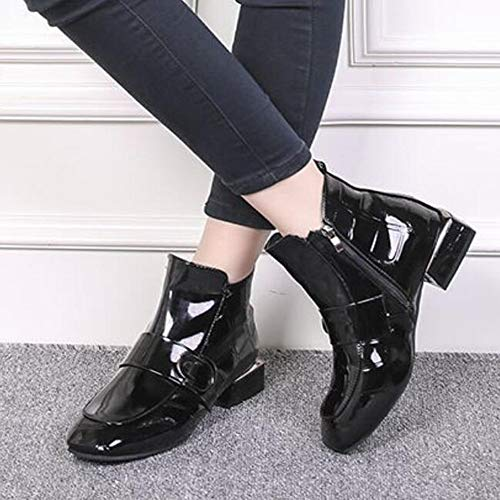 und Herbst Großformat Lack Chelsea Lederstiefel Boots Low Damenstiefel Square Winter Heels CITW Head 5d6wxPIq5W