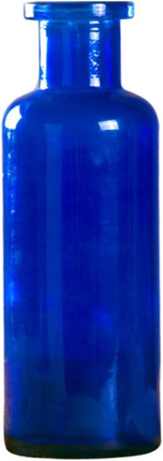 Outflower 1PC Jarrón de Vidrio de Color Jarrón de Vidrio cilíndrico Florero de Vidrio Transparente Decoración del hogar Floreros,22 * 7.5cm,Azul Marino