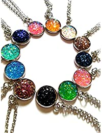 12pcs Colorful Faux Druzy Jewelry Drusy Necklace druzy Pendant Christmas Women's Gift for Her