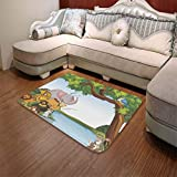 YOLIYANA Non-Slip Mat,Kids,for Bathroom Kitchen Bedroom,55.12'' x78.74'',Various Cartoon Style Animals Together by