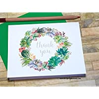 Wedding Thank You Cards - 10 Watercolor Wreath Stationery DM205