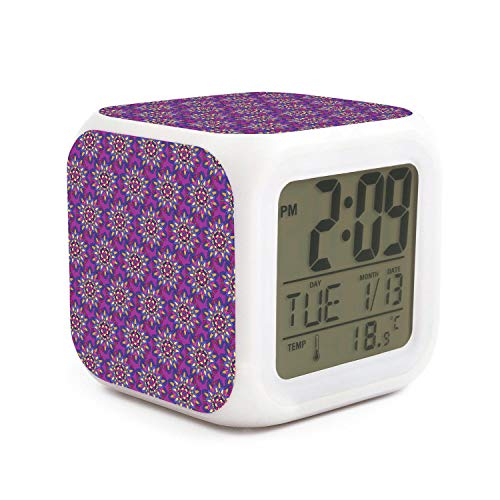 Vector Colorful Mandala Pattern Purple Alarm Clock Emperature Display 7 Color Night Light Sleep Timer Adjustable Volume Fit Birthday Gifts for Kids