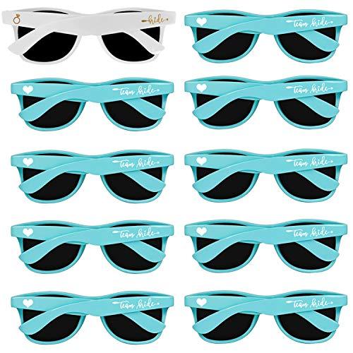 Bachelorette Party Sunglasses for Team Bride - 10 PCS Turquoise Bridal Shower & Weddings Favors Sunglasses