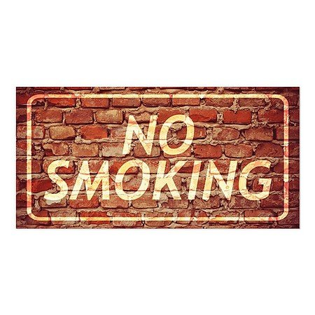 CGSignLab | ''No Smoking -Ghost Aged Brick'' Repositionable Opaque White 1st Surface Static-Cling Non-Adhesive Window Decal (5-Pack) | 24''x12'' by CGSignLab