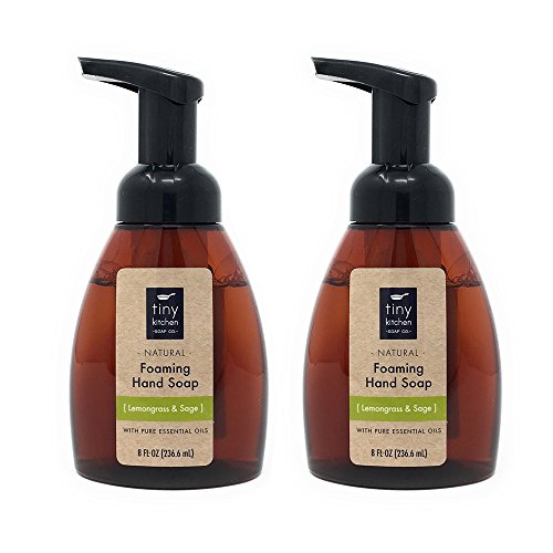Lemongrass & Sage Foaming Hand Soap (2 Pack) Handmade with Organic Base and Pure Essential Oils by Tiny Kitchen Soap Co.