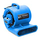 CFM PRO Air Mover Carpet Floor Dryer 3 Speed 1/3 HP Blower Fan with 2 GFCI Outlets - Stackable - Blue - Industrial Water Flood Damage Restoration