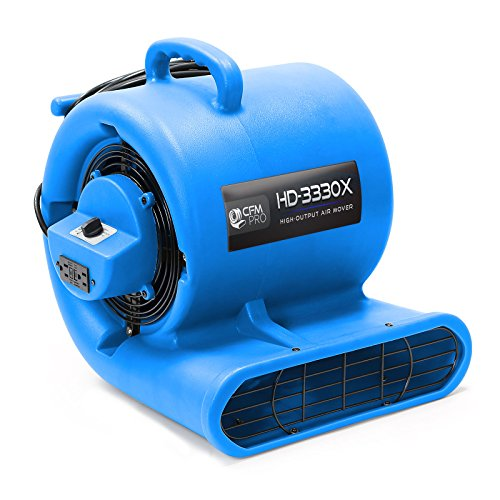 CFM Pro Air Mover Carpet Floor Dryer 3 Speed 1 3 HP Blower Fan with 2 GFCI Outlets – Stackable – Blue – Industrial Water Flood Damage Restoration