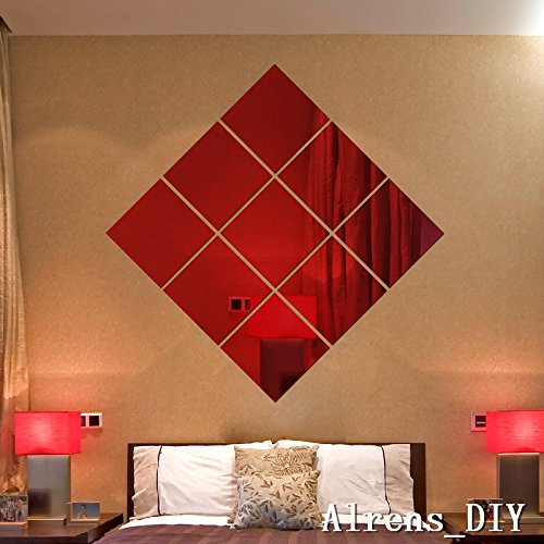 Alrens_DIY(TM)16 x 16CM 9 pcs Squares DIY Mirror Effect Reflective 3D Wall Stickers Home Decoration Living Room Bedroom Bathroom Decor Mural Decal adesivo de parede Removable Design Art (Red) by Alrens