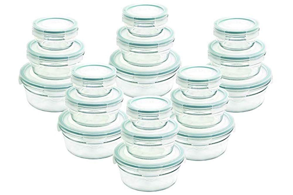 Airtight Anti-Spill Proof Tempered Glasslock Storage Round Containers 36pc set~Microwave & Oven Safe