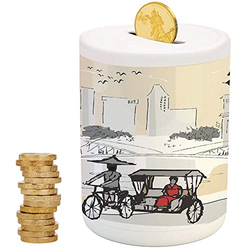 Modern,Piggy Bank Coin Bank Money Bank,Printed Ceramic Coin Bank Money Box for Cash Saving,Sketch Singapore City Silhouette with Local People Asian Town Illustration