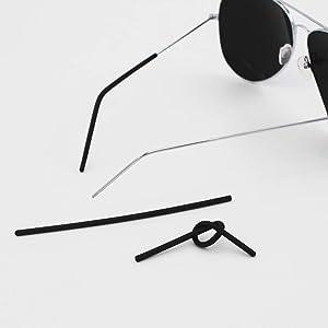 Eyeglass Temple Tips,BEHLINE Ear Socks Ear Tips Replacement for Wire Rimless Frames,Silhouette Glasses/Lindberg Air Spirit Titanium Frames(Black)
