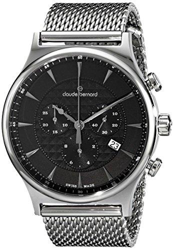 Claude Bernard Men's 10217 3M NIN Classic Dress Chronograph Analog Display Swiss Quartz Silver Watch