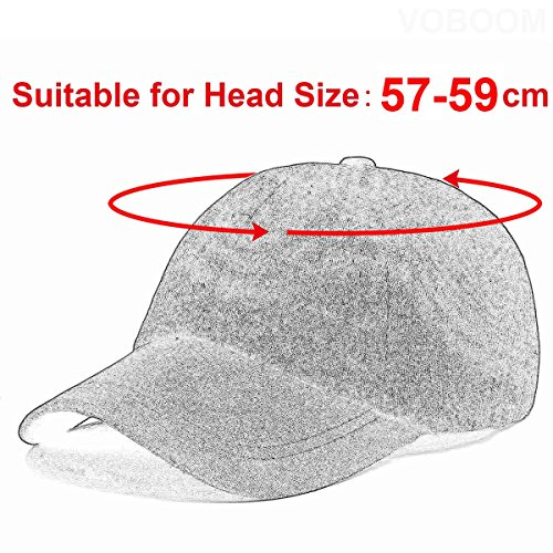 b8211d0d VOBOOM Men's Wool Blend Baseball Cap Herringbone Tweed Ball Cap Check  Woolen Adjustable Peaked Cap