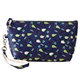 Happy Hours - Portable Waterproof Elegance Cosmetic Pouch Toiletry Bag / Cute PU Leather Floral Printed Top Zipped Makeup Case for Travel, Anniversary, Party and Dating(Green Penguin)