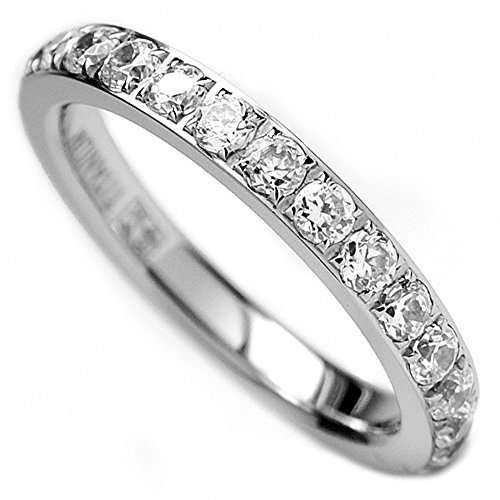 Titanium Cubic Zirconia Band - 3MM Ladies Titanium Eternity Engagement Band, Wedding Ring with Pave Set Cubic Zirconia Size 7.5