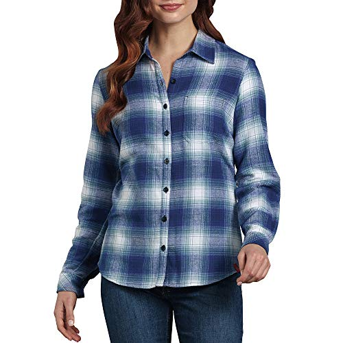 Dickies Women's Long-Sleeve Plaid Flannel Shirt, Cosmic Clear Blue/Opaque White, Medium ()