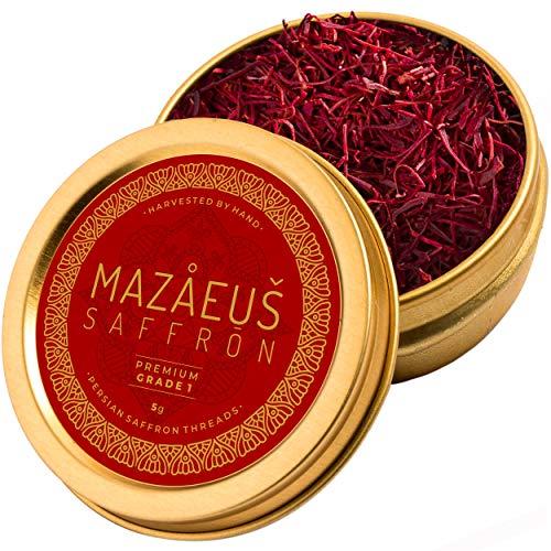 Mazaeus Saffron, Premium Saffron Threads (Grade 1), All-Red Saffron Spice, Highest Quality Persian Saffron for Culinary Use (5 grams)