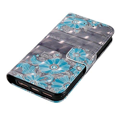 para iPhone 5s SE/5 PU Cuero Funda, Vandot 3D Bling Rhinestones Mariposa Shell TPU Inner Bumper Case Funda con Billetera Tapa Holster Cierre Magnético Tarjeta Ranura Carcasa Teléfono Concha Bolsa Capa 3D PT 04