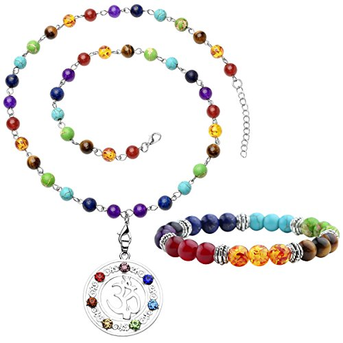 Top Plaza 7 Chakra Gemstones Tree of Life Healing Crystal Energy Yoga Balance Meditation Semi Precious Beads Necklace Bracelet Set(OM Symbol)