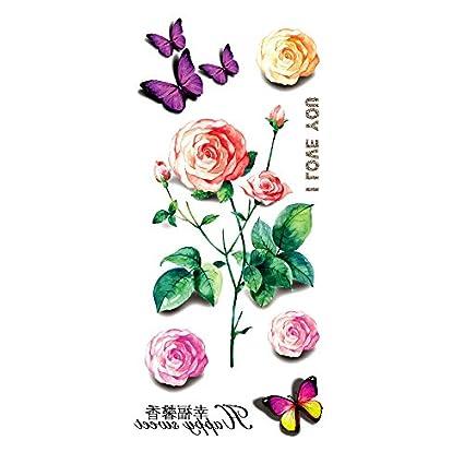 Oottati Tatuajes Temporales 3d Flor Te Amo Mariposa 2 Hojas