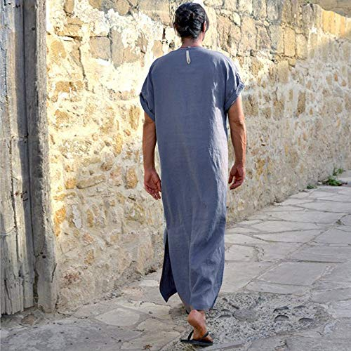 JESPER Mens Solid Ethnic Robes Loose Striped Short Sleeve Thin Vintage Dress Kaftan Gray by JESPER (Image #2)
