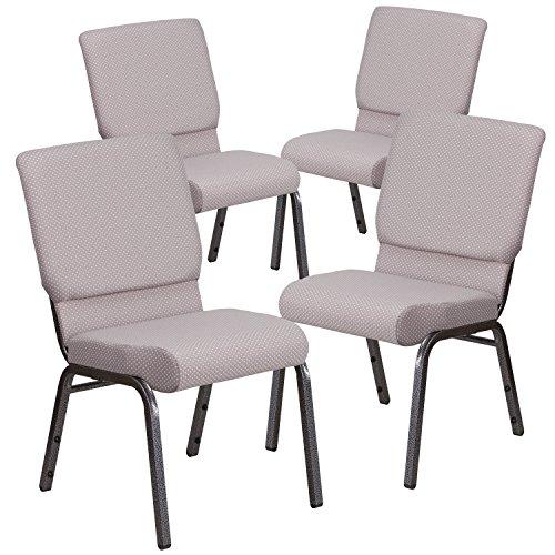 (Flash Furniture 4 Pk. HERCULES Series 18.5''W Stacking Church Chair in Gray Dot Fabric - Silver Vein Frame)