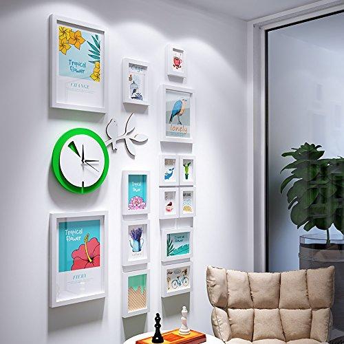 Photo wall green clocks portfolio photo frame wall flower bird decorative frame small fresh photo wall 5 Inch 7 Inch 10 Inch 14 Inch ( Color : White ) by Hongyu