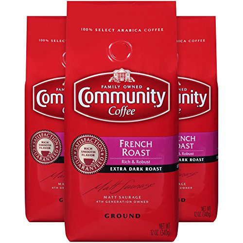 Community Coffee French Roast Extra Dark Roast Premium Ground 12 Oz Bag (3 Pack), Full Body Rich Robust Taste, 100% Select Arabica Coffee Beans