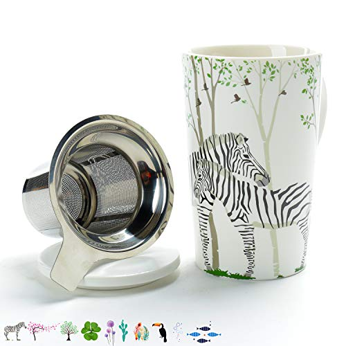TEA SONG Bone China Tea-Mug(18 oz) with Diffuser and Lid, Jupiter, Office Tea-cup with steep strain Steeper - Zebra, Brewing Strainer for Loose Leaf, One Tea Drinking Filter Set Mom Dad Women