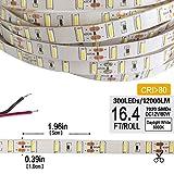 LED Strip Lights Under Cabinet Lighting Bathroom Light DC12V 80W 7020SMD 300LEDs 16.4 Feet Daylight White 6000K