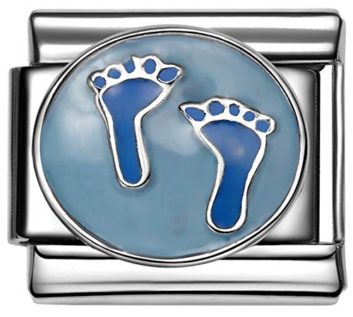 - Stylysh Charms Baby BOY Blue Footprints Enamel Italian 9mm Link FA055