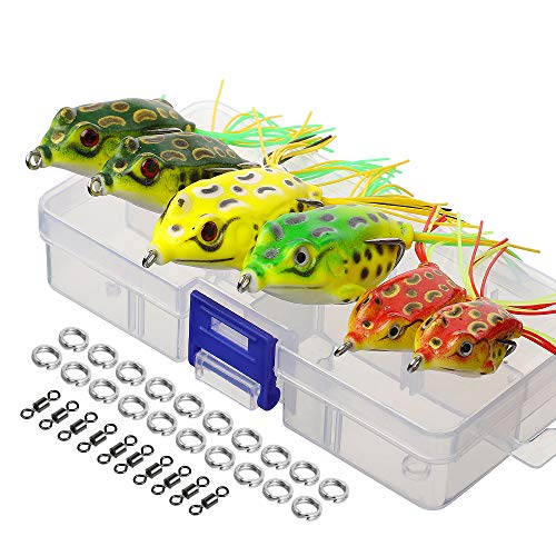 DONQL Topwater Frog Lures, Artificial Frog Fishing Lure Kit with Tackle Box for Bass Dogfish Musky Snakehead Pike Trout (Multicolors) (6 Frog Lures with Twin Skirts)