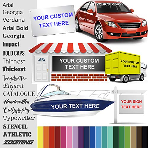 Design Your Own (13 Sizes + 18 Fonts + 24 Colors) Custom Vinyl Sticker | Car Window, Boat, Yeti Lettering JDM Automotive Windshield Graphic Name Letter Auto Vehicle Door Banner Sign Personalized Decal ()