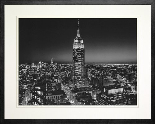 (Empire State Building at Night, New York by Henri Silberman. Frame Photo Poster. Custom Made Real Wood Modern Charcoal Black Frame (21 1/8 x 17 1/8) )