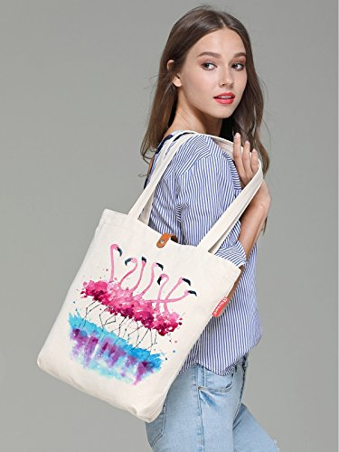 So'each Canvas 10L amp; Beige Animal Beach Print Flamingo Tote Art 38cm Bag pBpwrxq