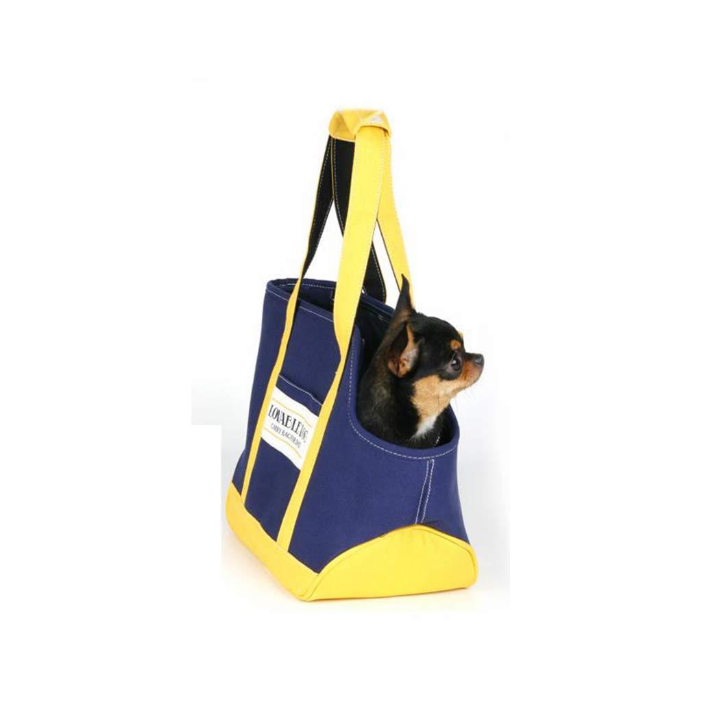 FJH bluee Yellow Canvas Fashion Pet Bag Cat Bag Canvas Dog Bag Teddy Out Pet Bag Dog Bag