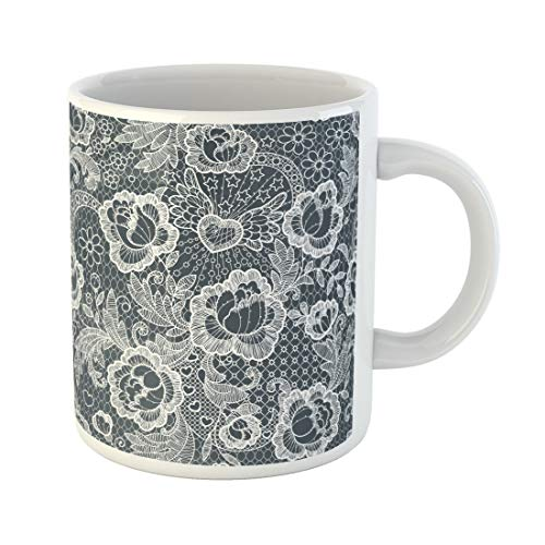 (Semtomn Funny Coffee Mug Blue Lace Roses Brocade Toile Broken Pattern Black White 11 Oz Ceramic Coffee Mugs Tea Cup Best Gift Or Souvenir)