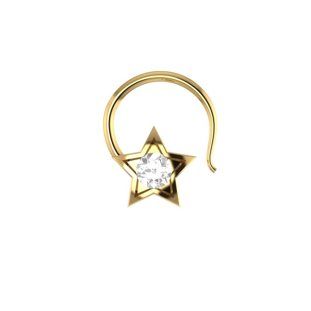 bbamjewelry Womens Star Shape Cubic Zirconia 10K Yellow Gold Engagement Nose Piercing Ring Pin Stud