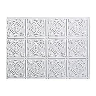Fasade Easy Installation Traditional 1 Gloss White Backsplash Panel for Kitchen and Bathrooms (18  x 24  Panel)